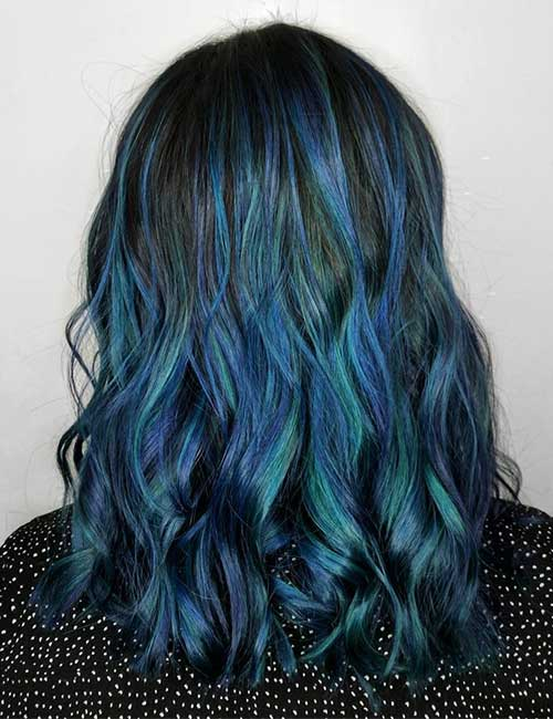 16. Triton's Fury Blue Balayage On Black Hair