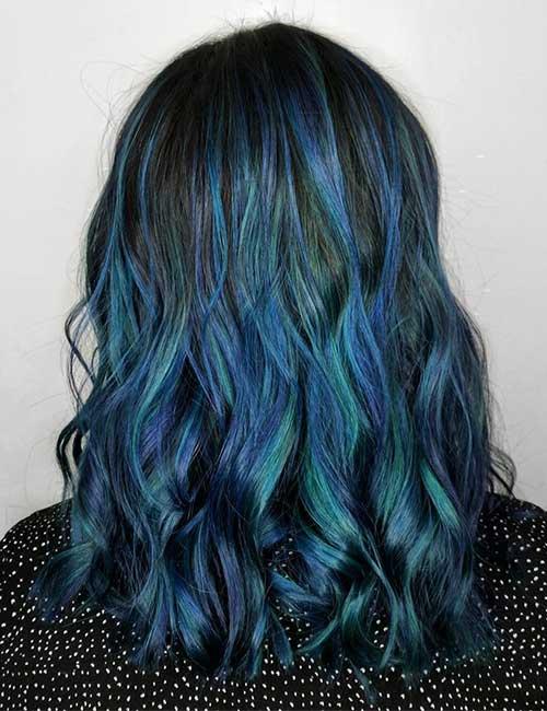 Balayage For Black Hair - Triton's Fury Blue Balayage On Black Hair