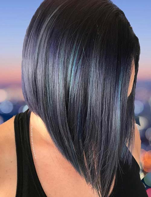 Balayage For Black Hair - Midnight Shadows Blue Balayage On Black Hair