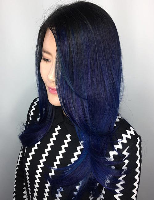 Balayage For Black Hair - Poseidon's Whispers Blue Root-Melt Balayage On Black Hair