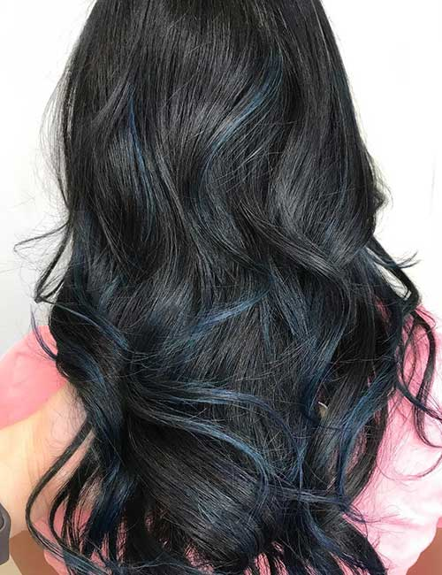 Balayage For Black Hair - Hints Of Blue Balayage On Black Hair