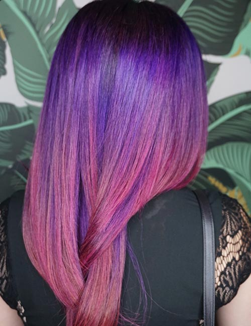 2019 year for women- Pink and purple ombre hair
