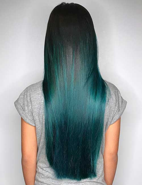 20. Smooth Teal Balayage On Black Hair