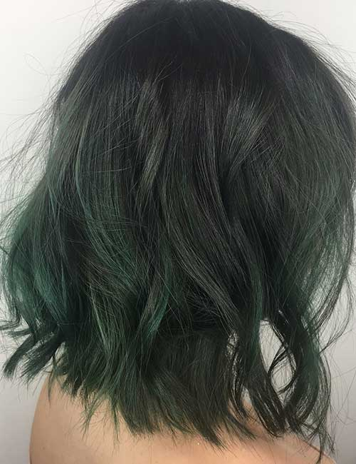Balayage For Black Hair - Emerald Hued Balayage On Black Hair