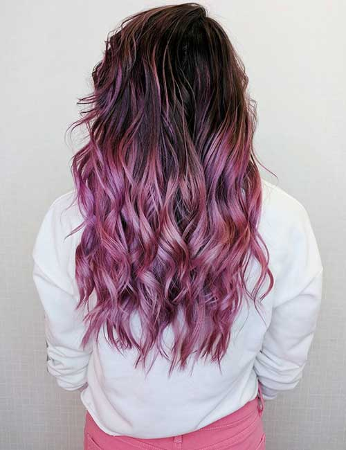 22. Pink Balayage On Black Hair