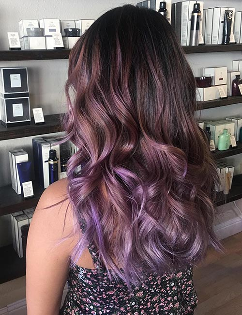 Balayage For Black Hair - Lavender Balayage On Black Hair