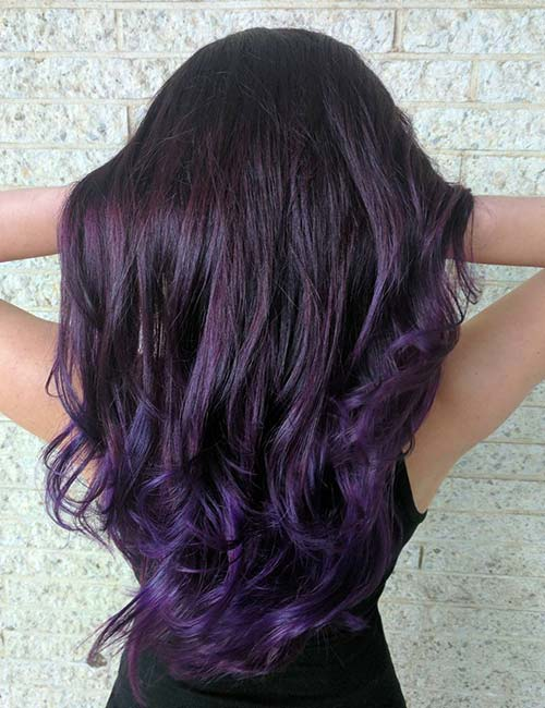 Balayage For Black Hair - Eggplant Purple Balayage On Black Hair