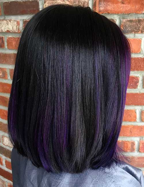 Balayage For Black Hair - Subtle Purple Balayage On Black Hair