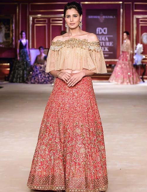 3. Off-shoulder Lehenga Blouse With Ruffles