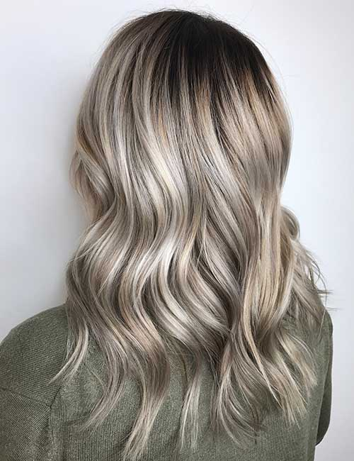 4. Ash Blonde Balayage On Black Hair