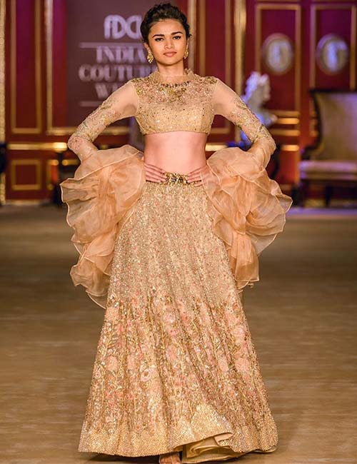 4. Rose Gold Lehenga And Full Sleeves Blouse With A Twist