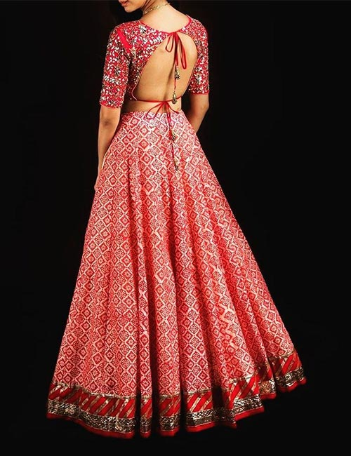 5. Backless Blouse With Heavy Embroidery
