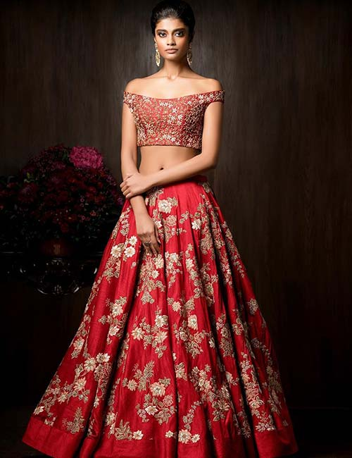 5. Crop Top Choli With Off-Shoulder Sleeves