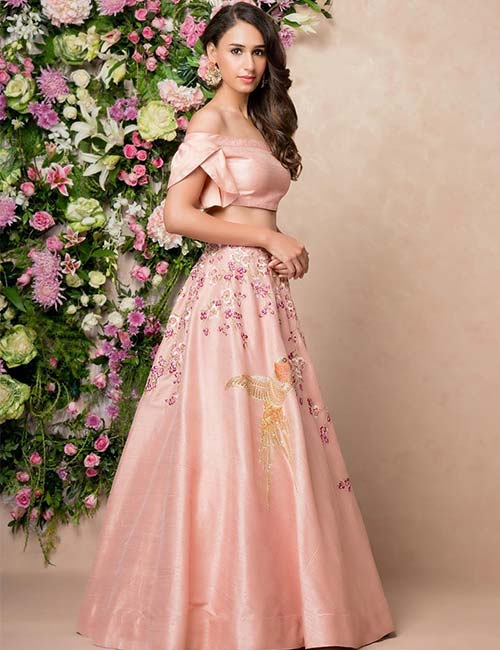 7. Pastel Colored LehengaWith Off-shoulder And Flap Sleeves