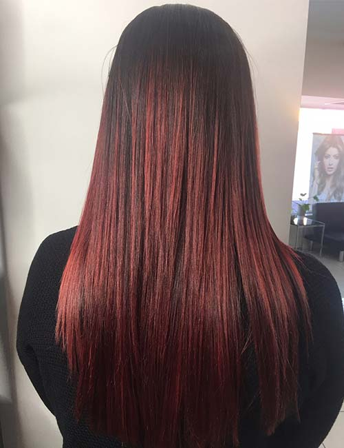 Red Balayage On Dark Brown Hair Best Black Hair 2017