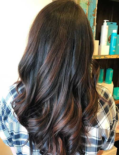 8. Chocolate Balayage On Black Hair