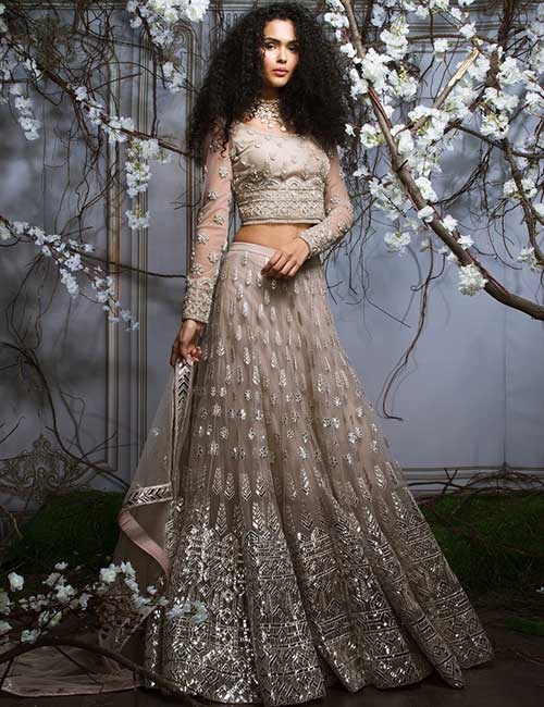 8. Full Sleeves Silver Blouse AndLehenga With Glass Sequin Work