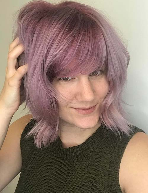 1. Heavy Smoky Purple Side-Swept Bangs