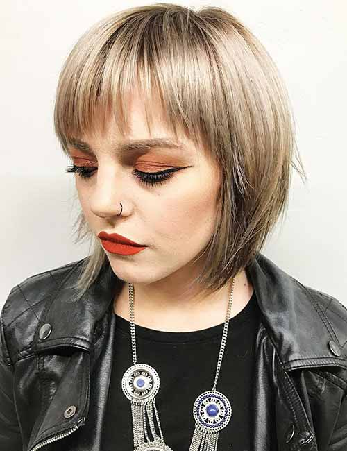 1. Razor Cut Layered Bob And Bangs