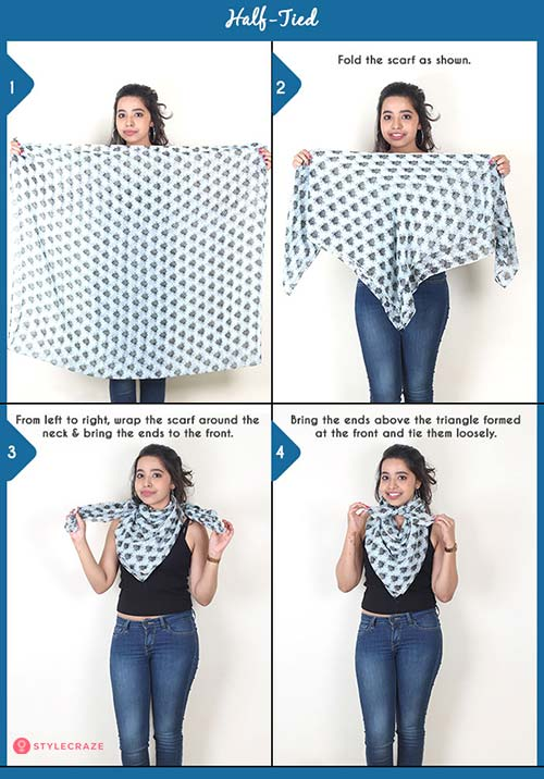 How to wear a blanket scarf - Half-Tied