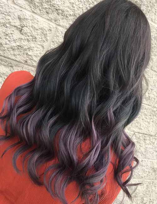 10. Lavender Ombre On Dark Hair