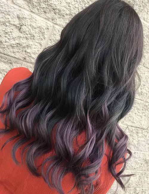 10. Lavender Ombre On Dark Hair