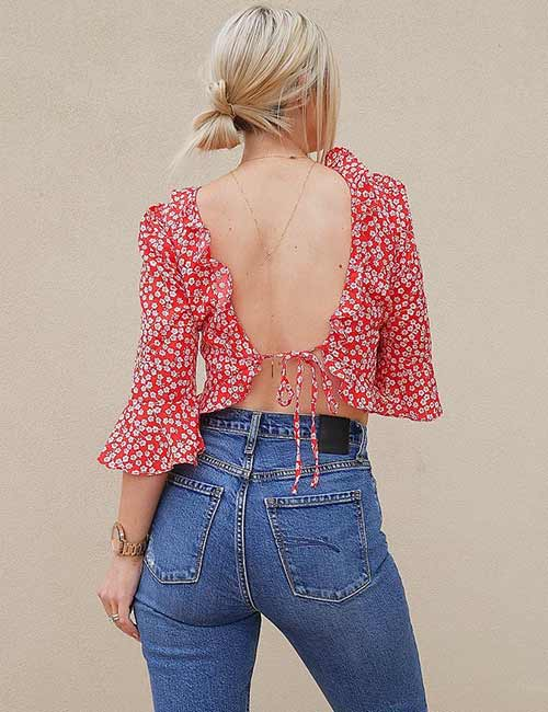High Waisted Jeans - With A Backless Top
