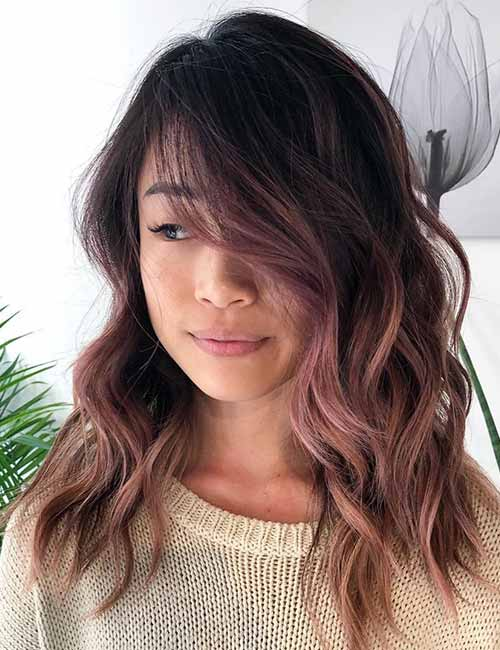 11. Rose Gold Ombre On Dark Hair
