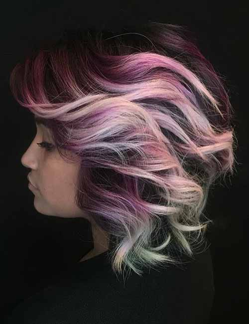 12. Pink Mermaid Layered Bob