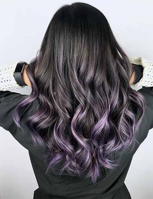12. Purple Ombre On Dark Hair