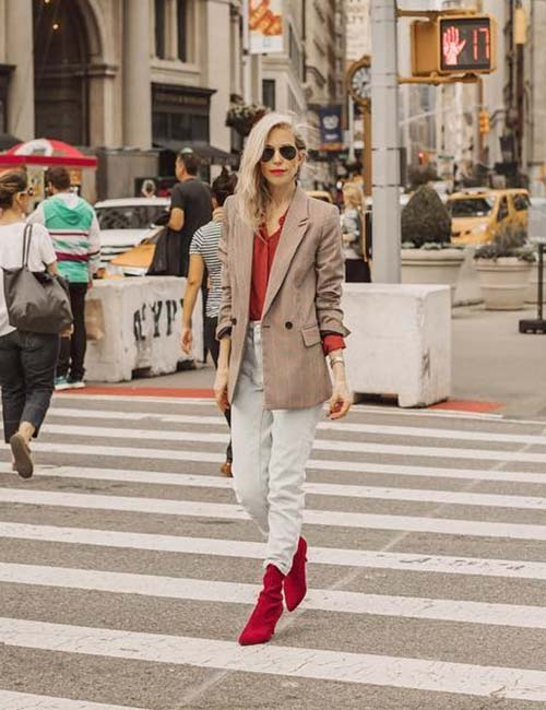 High Waisted Jeans - With A Loose Formal Coat And Red Sweater