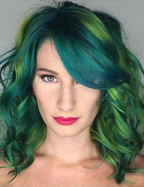 15. Emerald Hair With Side-Swept Bangs