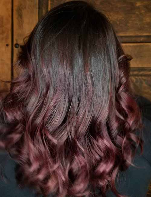 15. Red Violet Ombre On Dark Hair