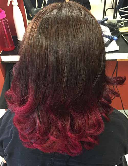 16. Cherry Pink Ombre On Dark Hair