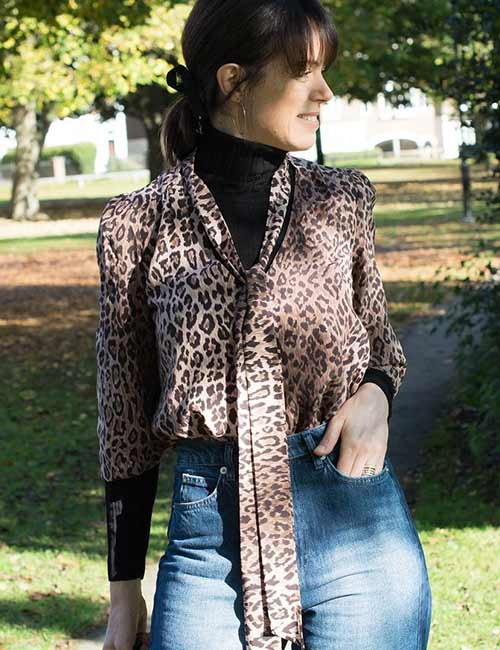 High Waisted Jeans - With An Animal Print Top
