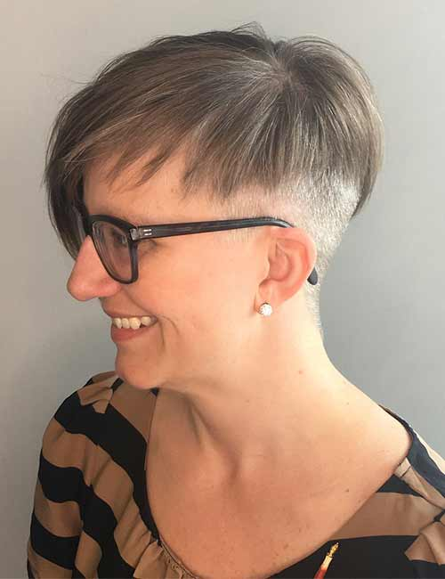 17. Brunette Pixie With Silver Undercut