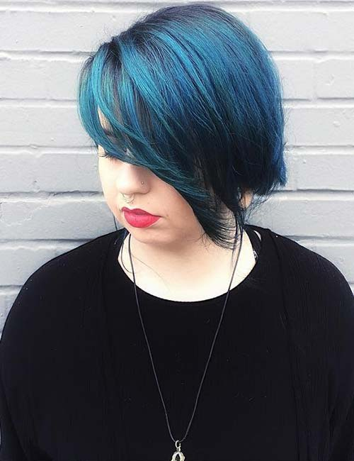 18. Blue Side-Swept Bangs