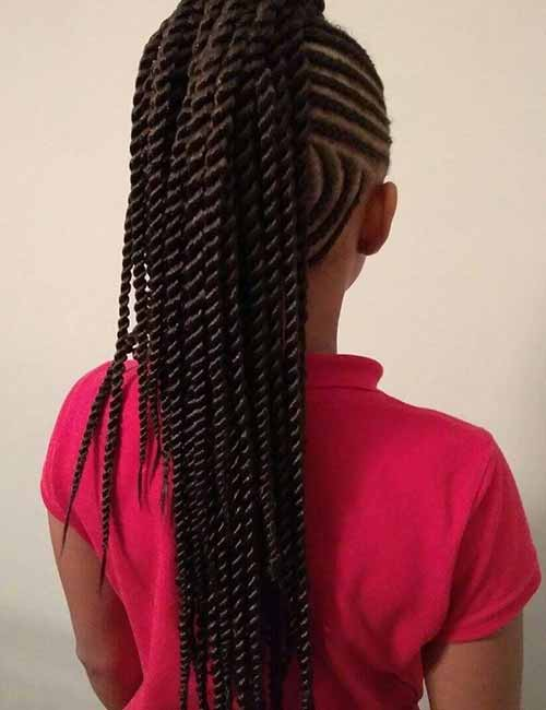 18. Cornrows And Kinky Twists Ponytail