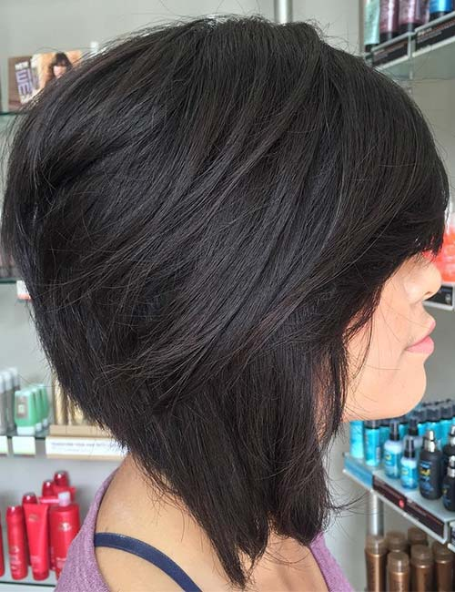 19. Heavy Side-Swept Bangs On A Stacked And Angled Bob