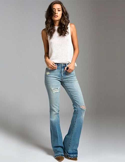 High Waisted Jeans - High Waisted Bootcut Jeans With A Crop Top