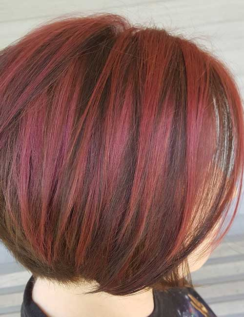 19. Short And Stacked With Red Highlights