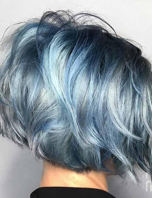 19. Steel Blue Layered Bob