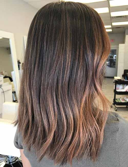 Warm Caramel Ombre On Dark Hair