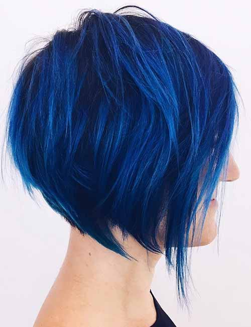 2. Electric Blue Stacked Bob