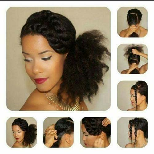 2. Twisted Bangs Side Ponytail