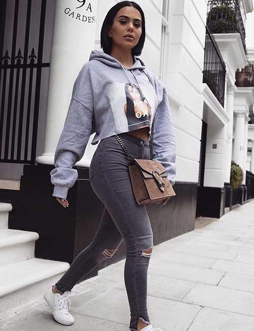 57c9e101f2d High Waisted Jeans - With A Crop-Top Style Sweatshirt