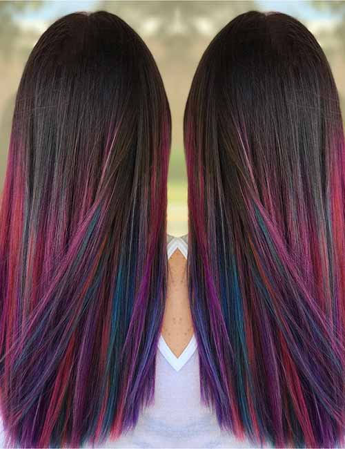 20. Colorful Ombre On Dark Hair