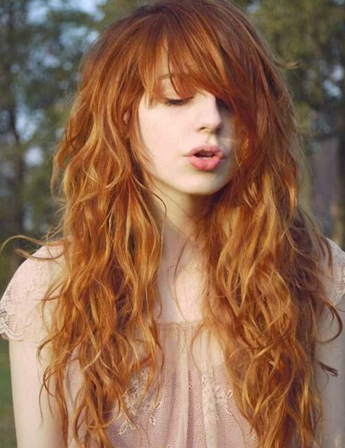 20. Side-Swept Bangs On Long Ginger Hair