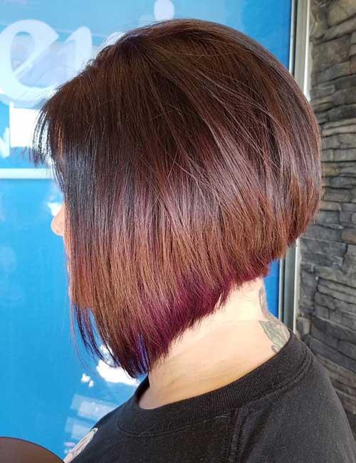 27. Red-Violet Peekaboo On Brown Stacked Hair