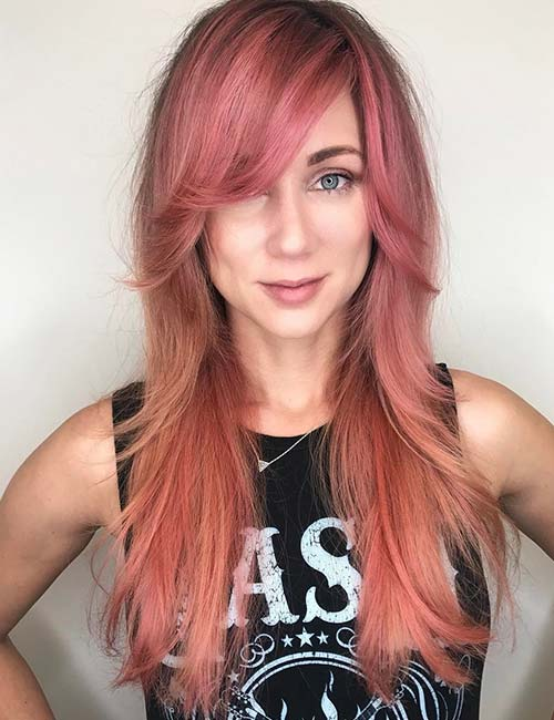 3. Flicked Out Side-Swept Bangs On Rose Blonde Hair
